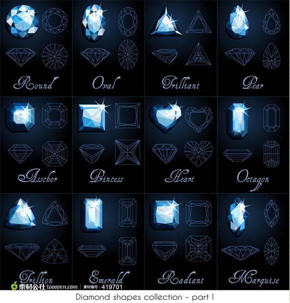 【转】钻石切割工艺 线框 对照图 Diamond shapes collection - R站|学习使我快乐! - 1