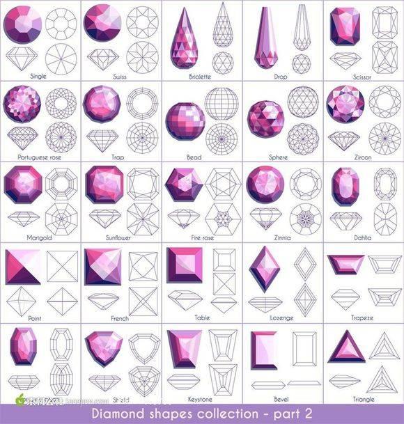 【转】钻石切割工艺 线框 对照图 Diamond shapes collection - R站|学习使我快乐! - 4