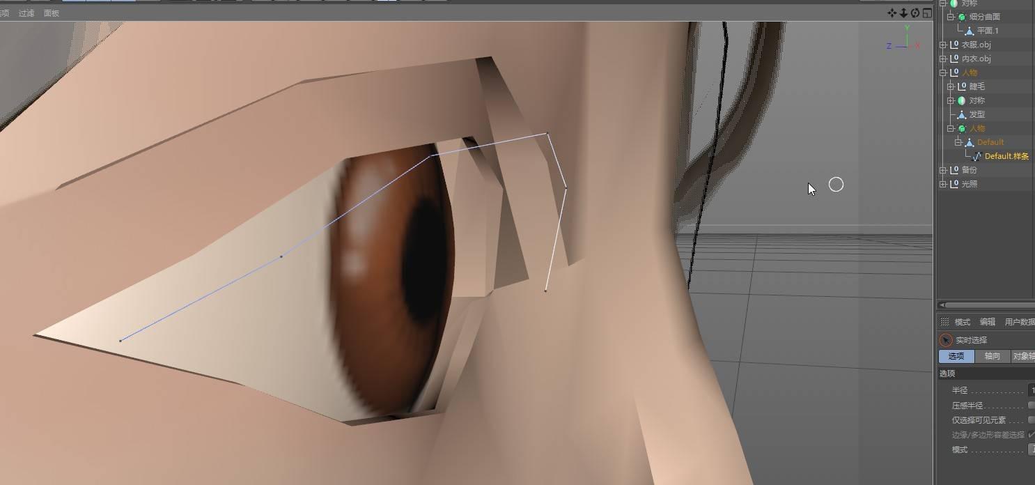 CINEMA 4D入门 (60):C4D 画笔样条spline 使用技巧(10) 提取样条 做的睫毛简单流程 - R站|学习使我快乐! - 2