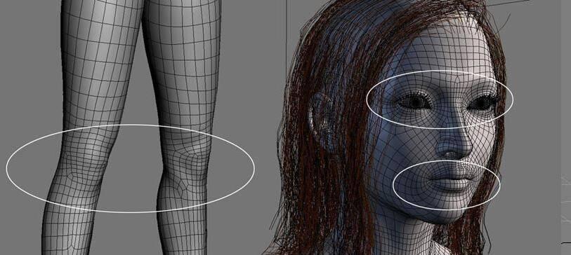 实用:人体3D模型 - 王康慧模型布线理论 - 2(布线的各种方法及特点) 转载 - R站|学习使我快乐! - 1