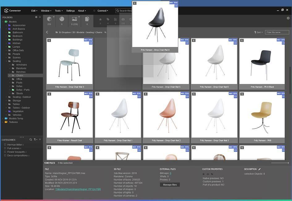 超强的可视化3D资产预览&管理工具Connecter (支持C4D/3DMAX/Sketchup/FBX等超多格式预览&管理) 免费下载 - R站|学习使我快乐! - 1
