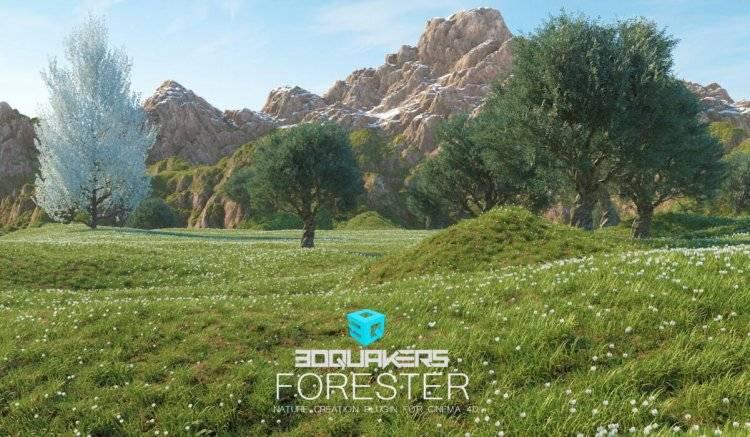【R站双语版】C4D插件 Forester 1.4.9 树木森林丛生花草岩石生长动画插件 for C4D R15~R23 含植物库 WIN/Mac 中英双语版 免费下载 - R站 学习使我快乐! - 1