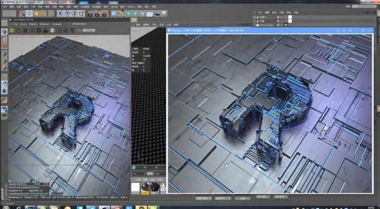 【R站番茄】C4D教程 Octane渲染器&JSplacement置换插件 制作科幻电路板效果 视频教程 免费下载 - R站|学习使我快乐! - 2