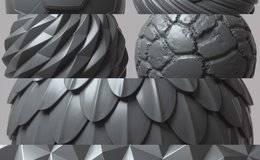 贴图纹理: 100张可平铺4K无缝置换纹理/Alpha图案 COMPLETE PACK 100 Tileable Displacement/Alpha Patterns 免费下载