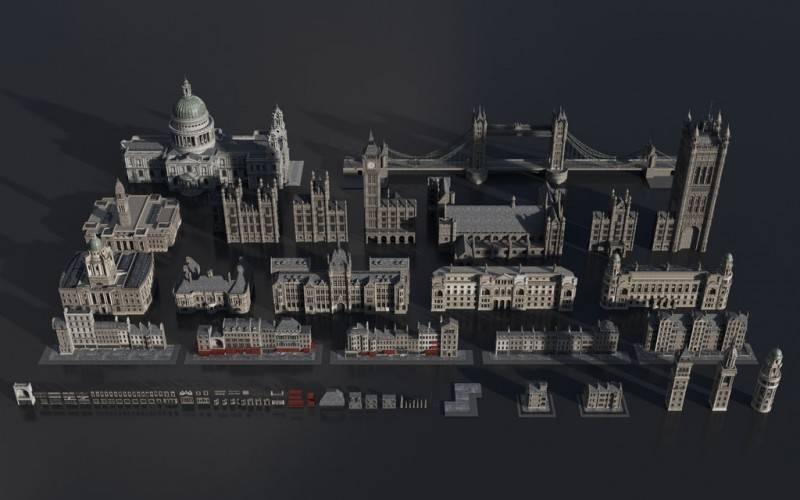 3D模型:维多利亚时代中世纪欧美建筑景观3D模型合集 Kitbash3D – Victorian (.OBJ/.FBX/.MA/.MTL格式) 免费下载 - R站 学习使我快乐! - 2