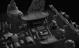 3D模型:中国复古风格建筑雕塑3D模型资源包 China Kit (.OBJ/.,ZBP/.ZTL格式)免费下载