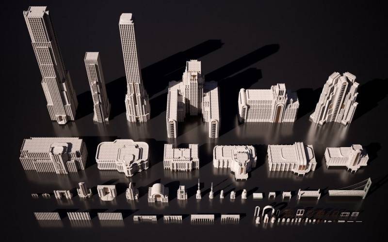 3D模型:欧美建筑景观装饰艺术景观3D模型合集 KITBASH3D ARTDECO (.OBJ/.FBX/.MA) 免费下载 - R站|学习使我快乐! - 2
