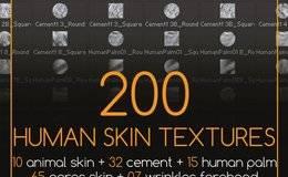 贴图纹理:Zbrush 高品质人类皮肤纹理200种  Gumroad 200 Human Skin Textures 免费下载