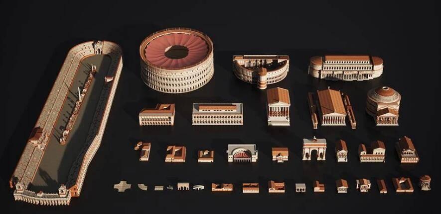 3D模型:罗马帝国著名建筑3D模型 Kitbash3D - Roman Empire (.MA/.3DS/.C4D/.BLEND/.FBX/.OBJ格式) 免费下载 - R站|学习使我快乐! - 3