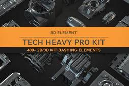 3D模型:科幻抽象概念机械3D模型 Gumroad – Tech Heavy Pro Kit (400+ 2d-3d Elements) (.Obj/.Fbx/.ABC格式)免费下载
