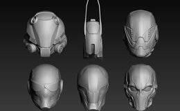 3D模型:6种科幻角色头部头盔模型 Cubebrush – Set of a Sci-Fi Head (.Obj/.Ztl格式) 免费下载