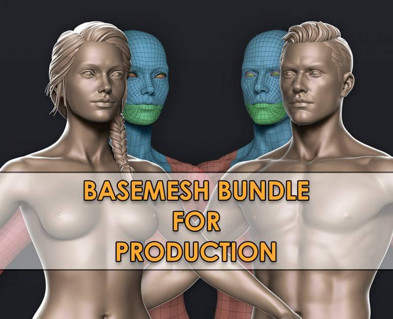 3D模型:可用于生产的高端男性&女性基本模型 Cubebrush - High-End Male & Female Basemeshes for Production (.Fbx/.Ztl格式) 免费下载 - R站|学习使我快乐! - 1