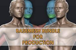 3D模型:可用于生产的高端男性&女性基本模型 Cubebrush – High-End Male & Female Basemeshes for Production (.Fbx/.Ztl格式) 免费下载