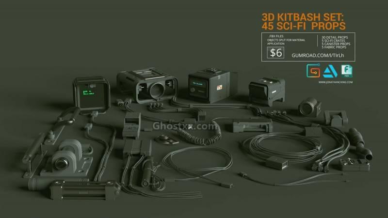 3D模型:45个科技通讯战术小道具电缆、电线、管道、背包等模型  Artstation MarketPlace – 3D Kitbash Set Vol 1 – 45 Sci-Fi Props 免费下载