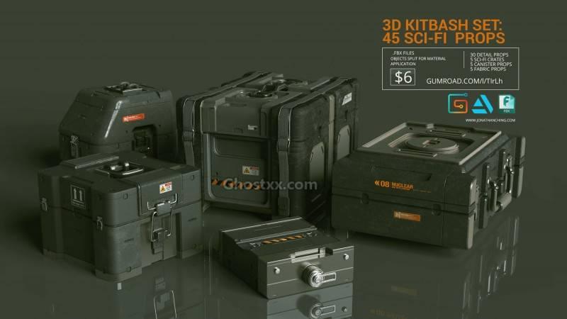 3D模型:45个科技通讯战术小道具电缆、电线、管道、背包等模型  Artstation MarketPlace – 3D Kitbash Set Vol 1 – 45 Sci-Fi Props - R站|学习使我快乐! - 5