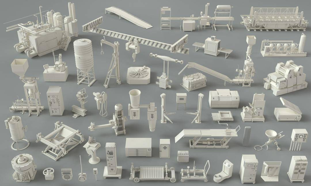3D模型:49个工厂建筑、器械、设备、车间、单元等模型 Cgtrader - Factory Units-part-3 - 49 pieces 3D model (.Obj/.Fbx/.Max格式) 免费下载 - R站|学习使我快乐! - 1
