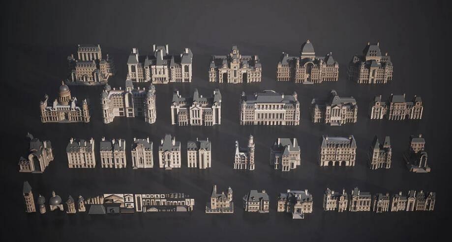 3D模型:优雅的巴黎、罗马、伦敦等标志性城市街区建筑模型 KitBash3D Parisian (.Ma/.Mtl/.Obj/.Fbx格式含材质贴图) 免费下载 - R站|学习使我快乐! - 2