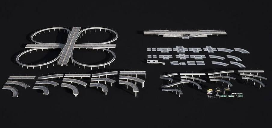 3D模型:立交桥、高速标牌、红绿灯等交通设备建筑包 Kitbash3d - Props Highways (.C4D/.E3D格式含材质贴图) 免费下载 - R站|学习使我快乐! - 1