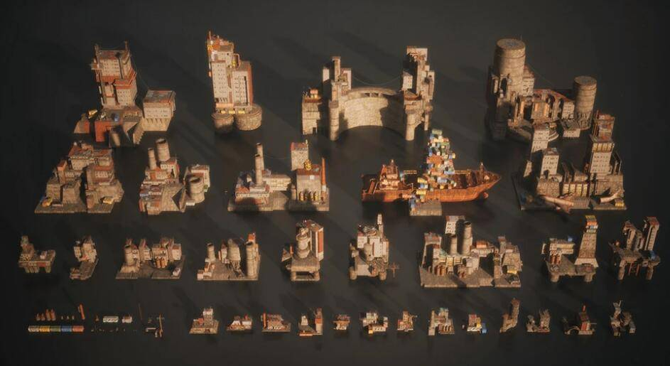 3D模型:未来史诗庞大的堡垒建筑场景包 Kitbash3d - Wasteland (.C4D/.OBJ/.FBX格式含材质材质贴图) 免费下载 - R站 学习使我快乐! - 2