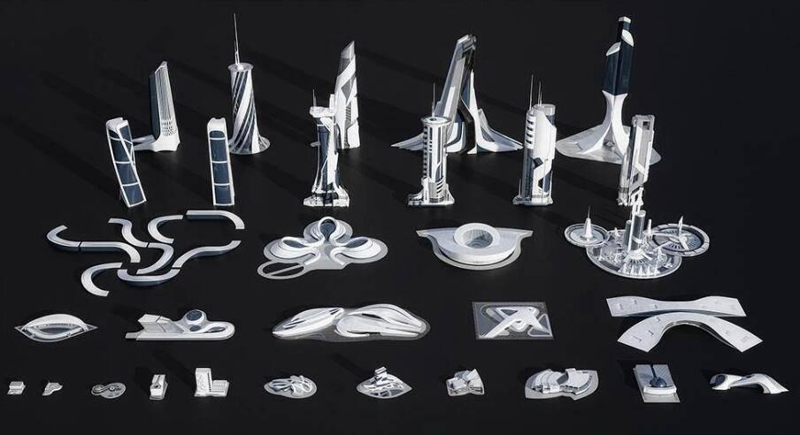 3D模型:未来概念创新科技城市建筑场景包 Kitbash3D - Utopia (.FBX/.OBJ/.MA./MAX格式) 免费下载 - R站|学习使我快乐! - 2
