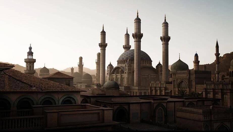 3D模型:中东美学圆顶宫殿清真寺等建筑场景模型包 Kitbash3D - Middle East (.FBX/.OBJ/.MA格式含材质贴图) 免费下载 - R站|学习使我快乐! - 1