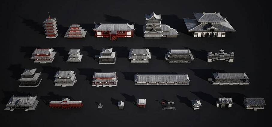 3D模型:幕府时代日本宝塔寺庙等东方哲学建筑场景包 Kitbash3D - Edo Japan (.FBX/.OBJ/.MA格式含材质贴图) 免费下载 - R站|学习使我快乐! - 2