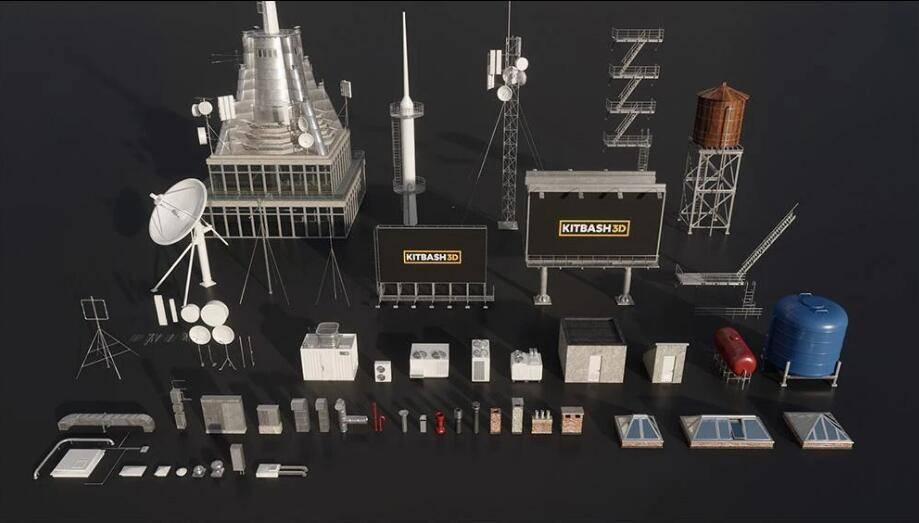 3D模型:广告牌、卫星塔、屋顶装置等模型包 Kitbash3d - Rooftops (.C4D/.E3D/.FBX/.OBJ/.MAX./MA格式含材质贴图) 免费下载 - R站|学习使我快乐! - 1