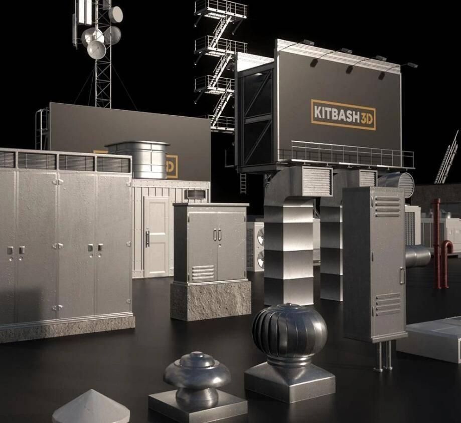 3D模型:广告牌、卫星塔、屋顶装置等模型包 Kitbash3d - Rooftops (.C4D/.E3D/.FBX/.OBJ/.MAX./MA格式含材质贴图) 免费下载 - R站|学习使我快乐! - 3