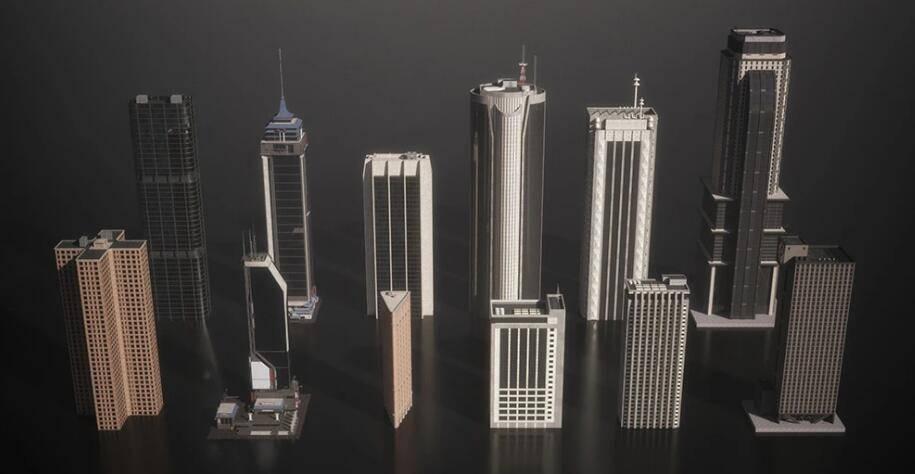 3D模型:现代和未来城市天际线建筑场景模型包 Kitbash3d - Mini Kit Skylines (.FBX/.OBJ/.MAX格式含材质贴图) 免费下载 - R站 学习使我快乐! - 2