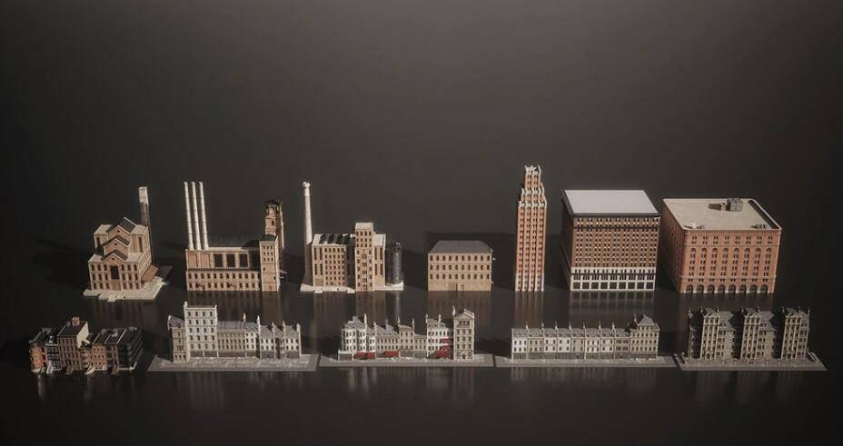 3D模型:复古工业时代街区城镇建模场景模型包 KitBash3D - Mini Kit Boroughs (.OBJ/.FBX/.MAX格式含材质贴图) 免费下载 - R站|学习使我快乐! - 2