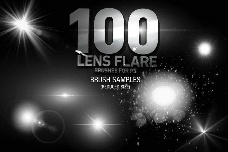 PS笔刷:100个高分辨率镜头光晕 Photoshop笔刷 100 Lens Effect Brushes for PS Vol 1 免费下载