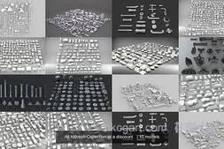 3D模型:CGTrader 硬面零件模组3D模型10个合集包 All Kitbash Collection (.Obj/.Fbx/.Max等格式) 免费下载