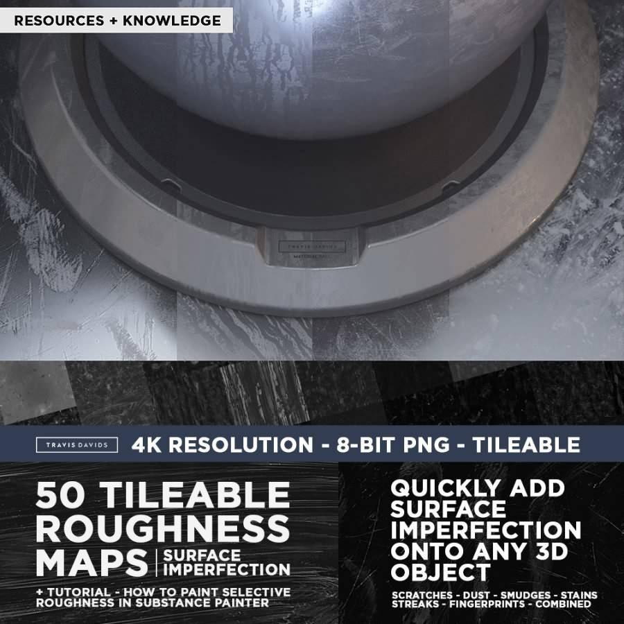 纹理贴图:150张粗糙灰尘污垢划痕表面缺陷贴图 Gumroad – Ultimate Pack 150 Roughness Maps Surface Imperfection 含教程 免费下载