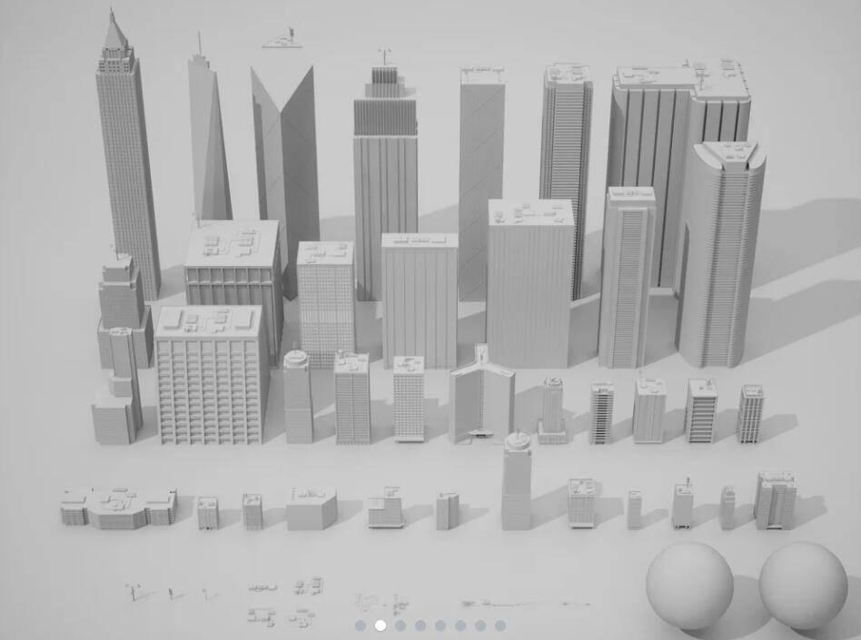 3D模型:37个大型商业街区城市建筑模型包 Gumroad - ROBOT BLOCKS Urban Kitbash V1 (FBX/OBJ/MAX格式) 免费下载 - R站|学习使我快乐! - 2