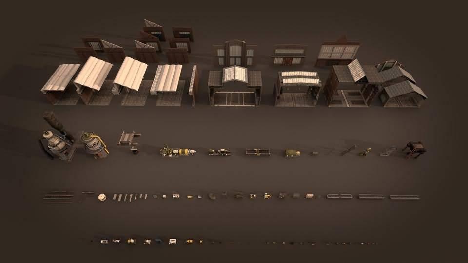 3D模型:工业场景内部的中兴机械设备道具 KitBash3d Props: Machinery (MAX/C4D/FBX/OBJ格式) 免费下载 - R站 学习使我快乐! - 2