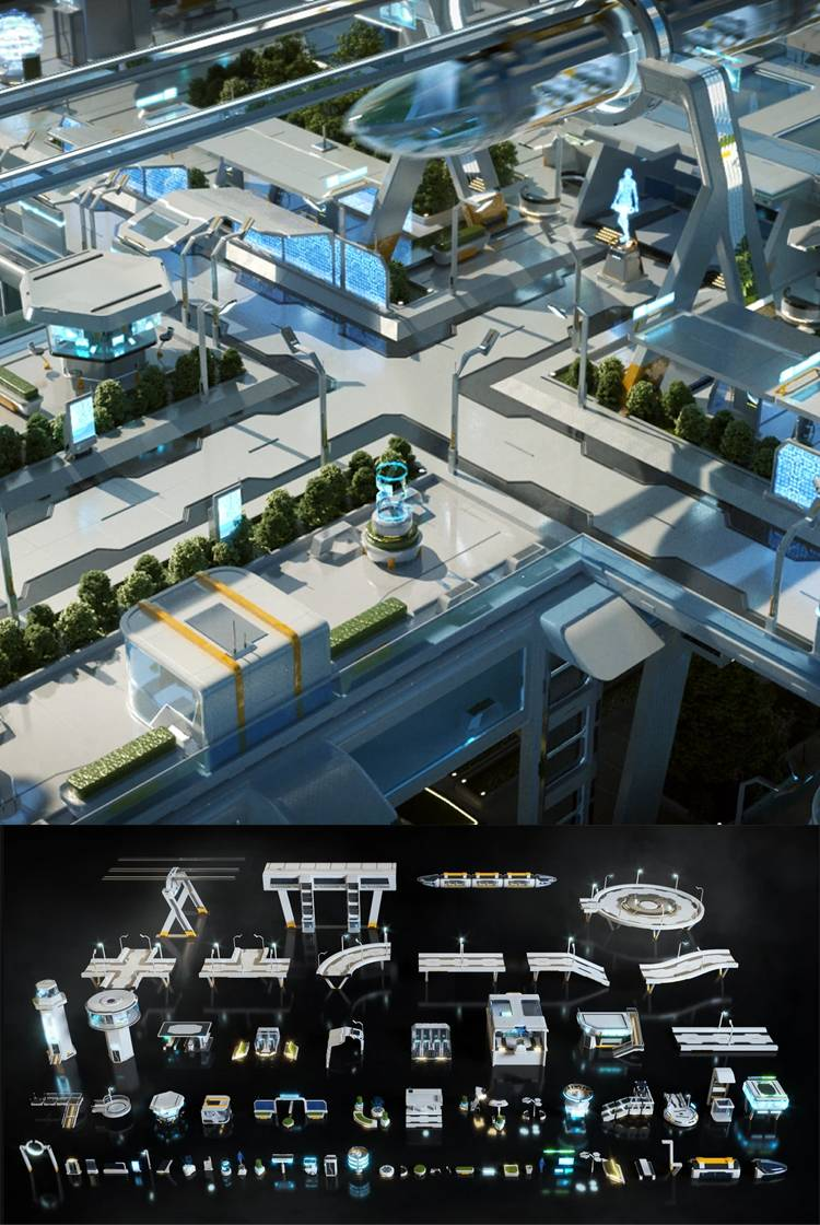 3D模型:未来科幻城市街道3D模型 Kitbash3D – Props High Tech Streets (OBJ/FBX/MTL格式) 免费下载 - R站 学习使我快乐! - 1