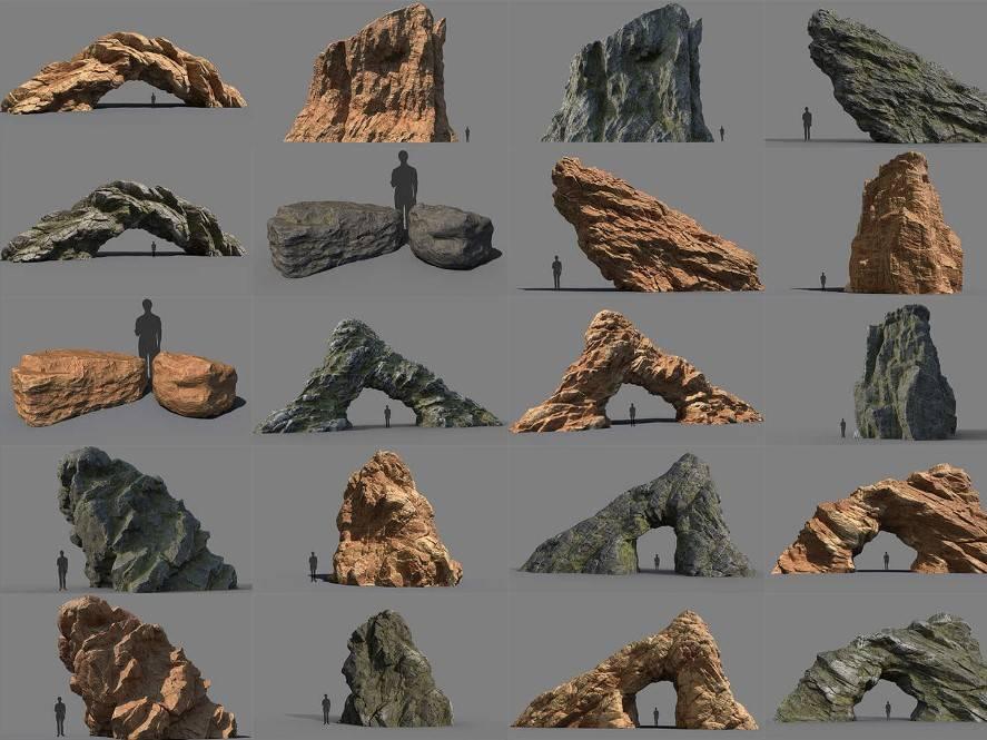 3D模型:高精度各种风格岩石石头3D模型 Gumroad - Rocks Bundle (.OBJ/含贴图材质) 免费下载 - R站|学习使我快乐! - 2
