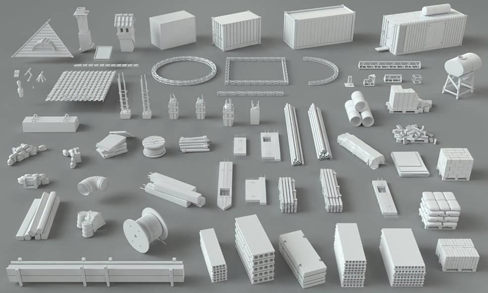3D模型:66个建筑工地相关模组3D模型 CGTrader – Construction Pack- 66 pieces 3D model (MAX/FBX/OBJ格式) 免费下载