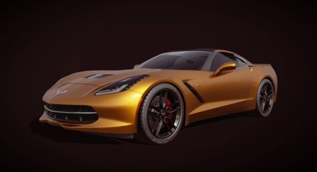 3D模型:超酷跑车 雪佛兰·克尔维特 绰号黄貂鱼 Chevrolet Corvette (C7) (.Fbx/含材质) 免费下载 - R站 学习使我快乐! - 1