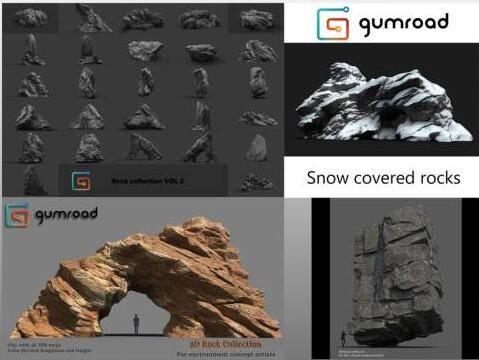 3D模型:高精度各种风格岩石石头3D模型 Gumroad - Rocks Bundle (.OBJ/含贴图材质) 免费下载 - R站|学习使我快乐! - 1