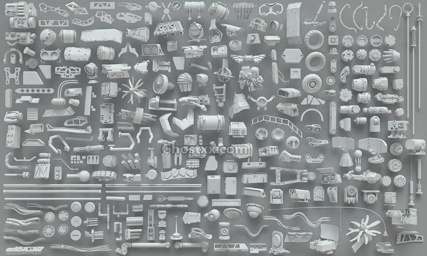 3D模型:268个机械部件3D模型包 3DExport - 3D Kitbash - 268 metal piece parts (MAX/FBX/OBJ格式) 免费下载 - R站|学习使我快乐! - 1