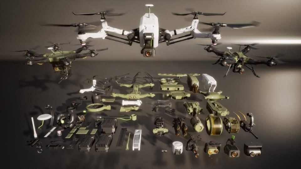 3D模型:现代战争未来无人机模型包 Kitbash3d – Veh Drones (MAX/C4D/FBX/OBJ格式) 免费下载 - R站 学习使我快乐! - 2
