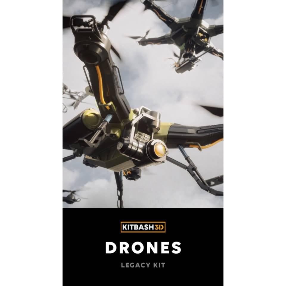 3D模型:现代战争未来无人机模型包 Kitbash3d – Veh Drones (MAX/C4D/FBX/OBJ格式) 免费下载 - R站 学习使我快乐! - 1