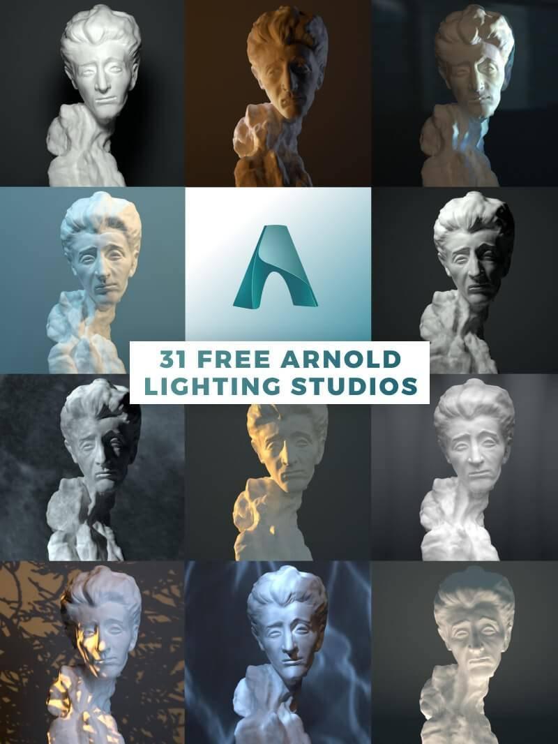 C4D工程:31个Arnold for C4D 摄影棚灯光预设 Arnold Lighting Studios for Cinema 4D! 免费下载 - R站|学习使我快乐! - 1