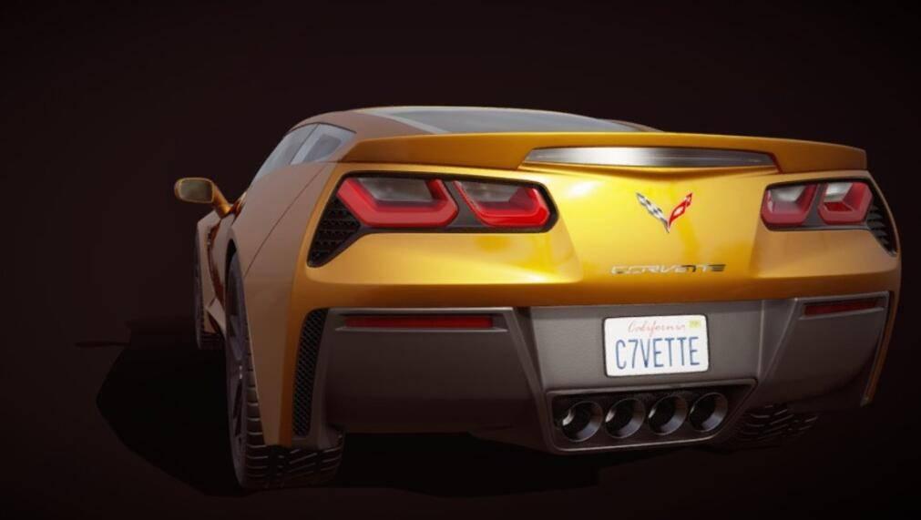 3D模型:超酷跑车 雪佛兰·克尔维特 绰号黄貂鱼 Chevrolet Corvette (C7) (.Fbx/含材质) 免费下载 - R站 学习使我快乐! - 2