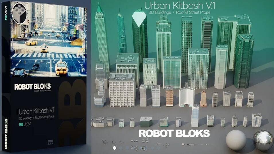 3D模型:37个大型商业街区城市建筑模型包 Gumroad - ROBOT BLOCKS Urban Kitbash V1 (FBX/OBJ/MAX格式) 免费下载 - R站|学习使我快乐! - 1