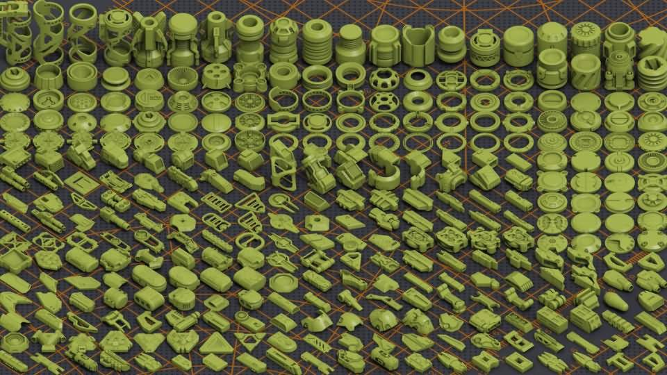 3D模型:320个精细的科幻模型包 Mega Pack Sci-Fi Hard Surface KITBASH 320 DETAILS (FBX/OBJ/MAX格式) 免费下载 - R站|学习使我快乐! - 2