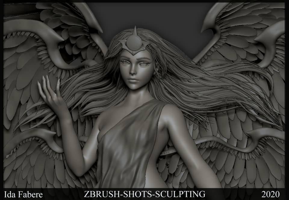 3D模型:超脱的光辉羽翼女神高精三维模型 Transcended (FBX/OBJ/MB/ZTL等格式) 免费下载 - R站 学习使我快乐! - 4