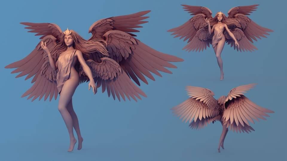 3D模型:超脱的光辉羽翼女神高精三维模型 Transcended (FBX/OBJ/MB/ZTL等格式) 免费下载 - R站 学习使我快乐! - 2