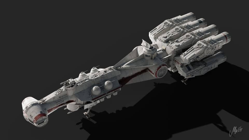 3D模型:《星球大战》坦特维Ⅳ型科幻宇宙飞船三维模型 Tantive IV  Blockade Runner Corellian Corvette (OBJ/FBX/BLEND格式含材质) 免费下载